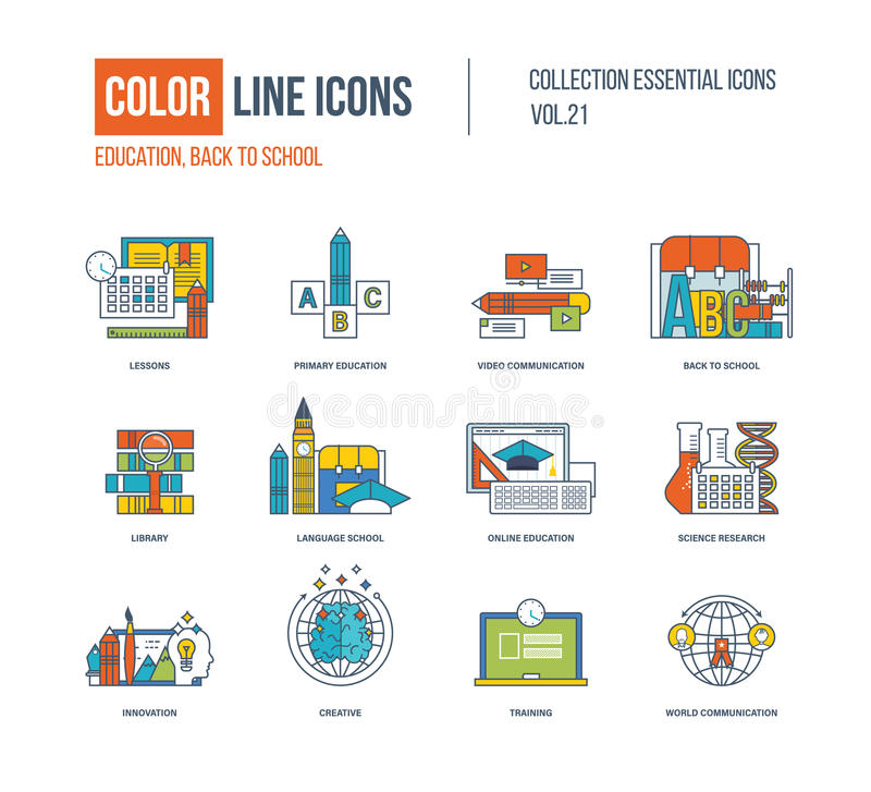 Linha fina ícones da cor ajustados Educação primária, de volta à escola ilustração stock