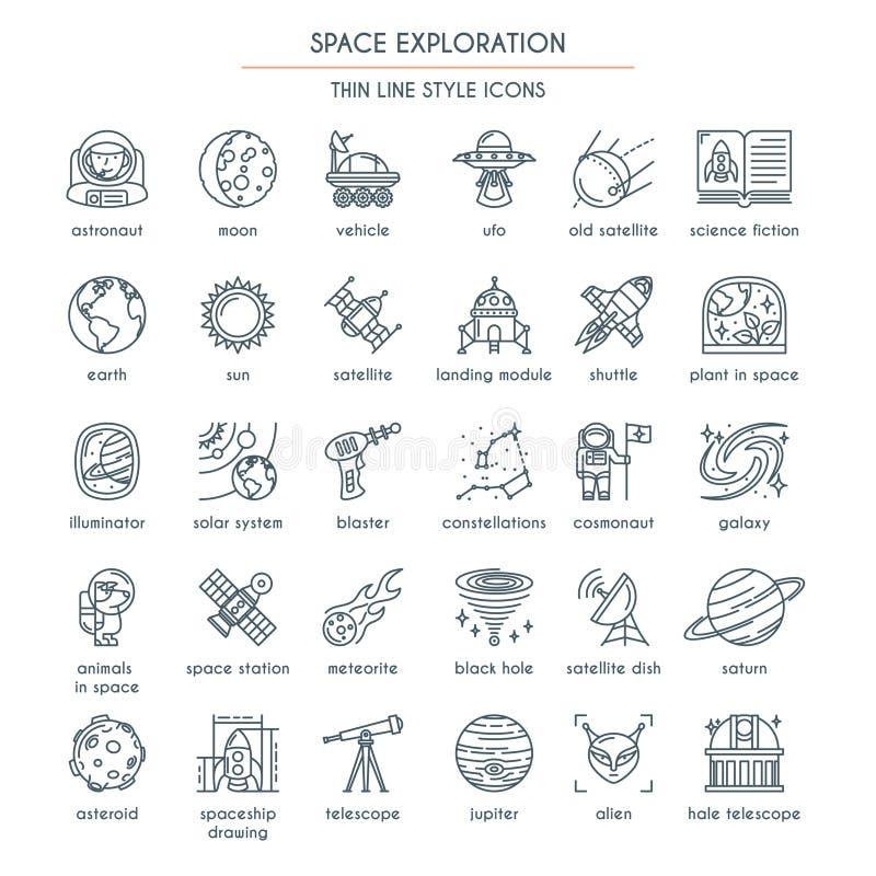 Linha fina ícones da exploração do espaço ilustração stock