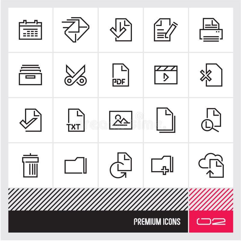 Linha fina ícones da gestão de arquivo do vetor Ícones superiores da Web e do computador da qualidade ilustração do vetor