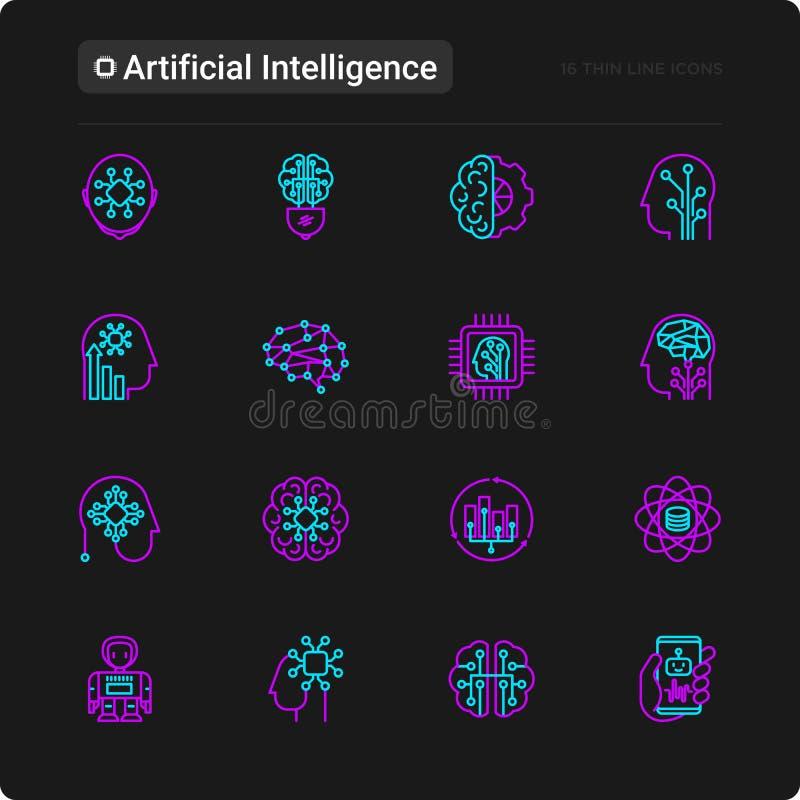 Linha fina ícones da inteligência artificial ajustados ilustração royalty free