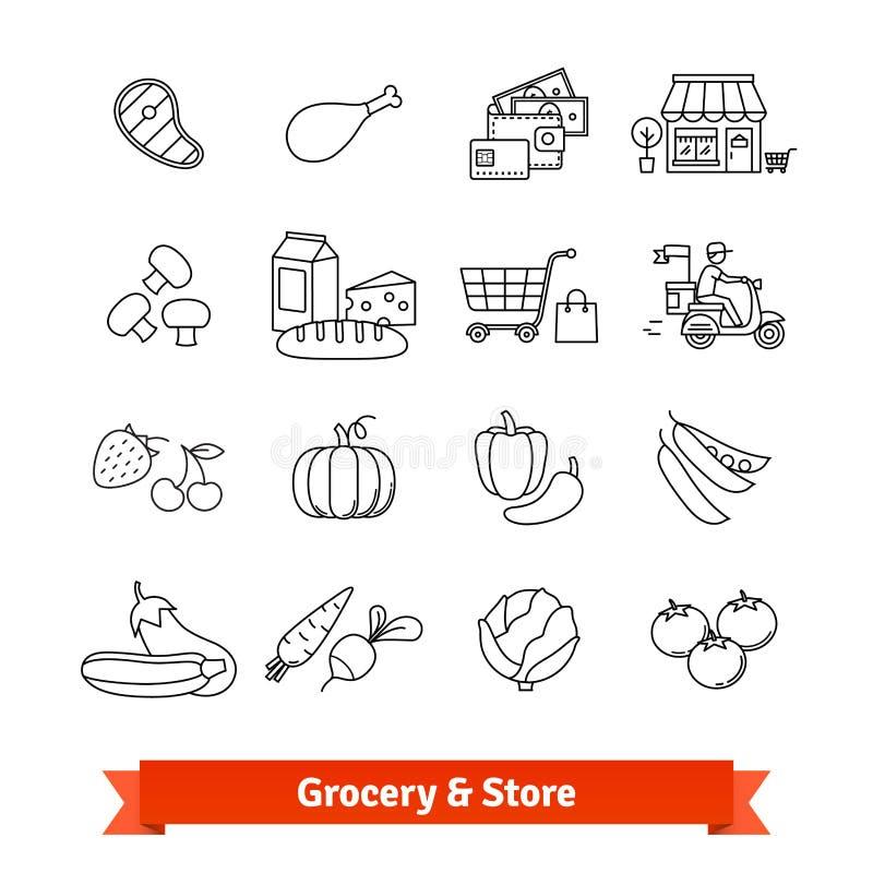 Linha fina ícones da mercearia da arte ajustados ilustração stock