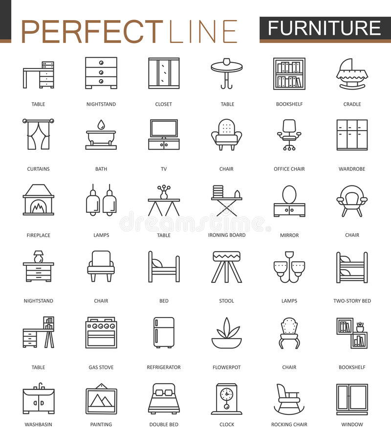 Linha fina ícones da mobília da Web ajustados Projeto do ícone do curso do esboço ilustração do vetor