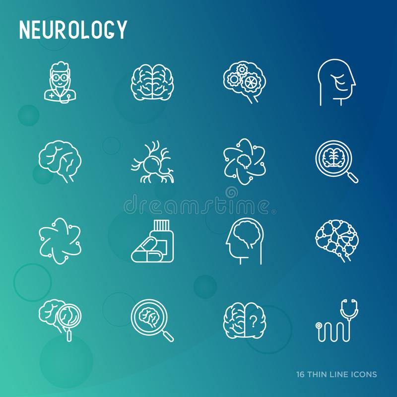 Linha fina ícones da neurologia ajustados ilustração royalty free