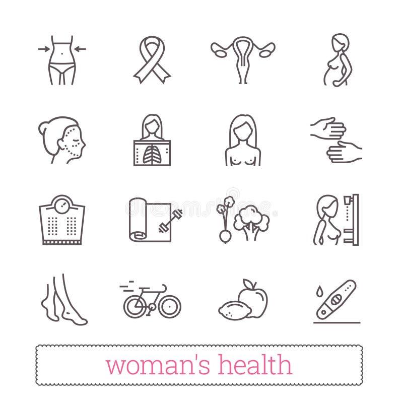 Linha fina ícones da saúde do ` s da mulher Medicina, beleza das mulheres, estilo de vida ativo, dieta saudável, símbolos da cons ilustração do vetor