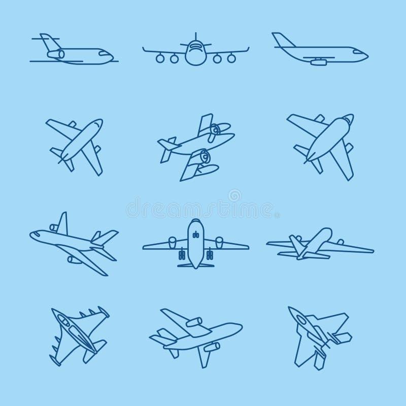 Linha fina ícones do avião ilustração do vetor