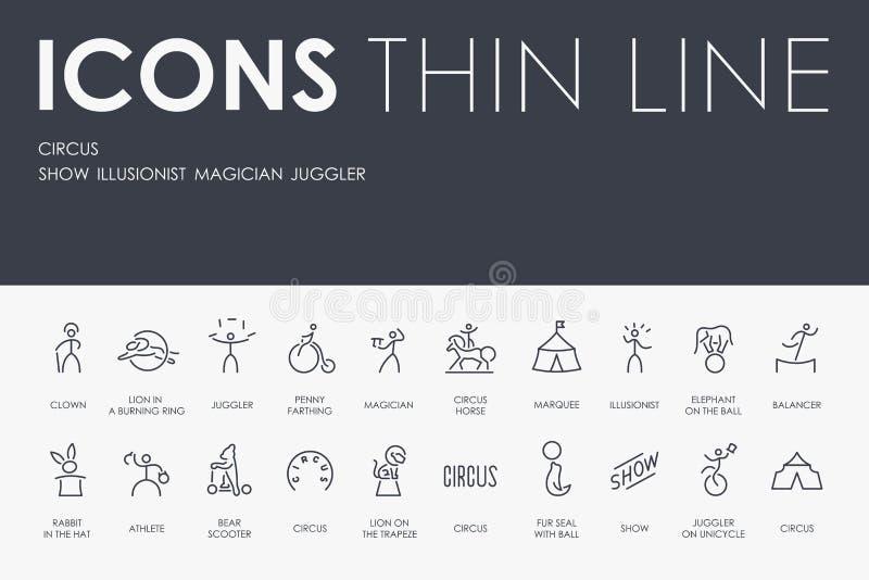 Linha fina ícones do CIRCO ilustração stock