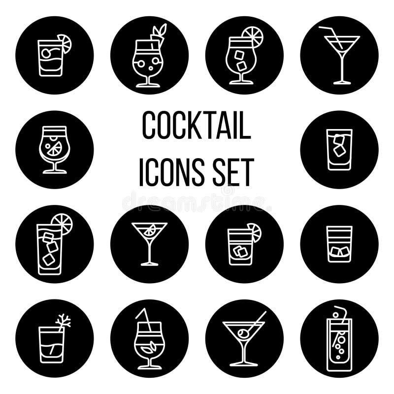 A linha fina ícones do cocktail do vetor ajustou-se em preto e branco ilustração do vetor