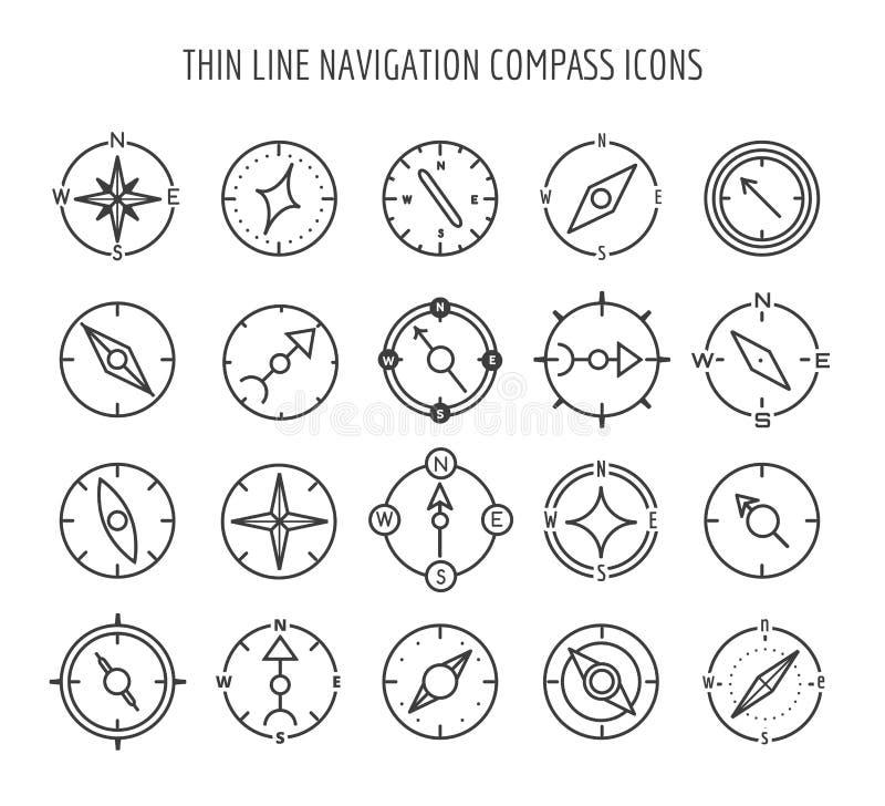 Linha fina ícones do compasso ilustração stock