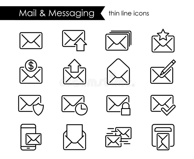 Linha fina ícones do correio, mensagem ilustração royalty free