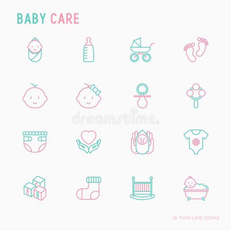 Linha fina ícones do cuidado do bebê ajustados ilustração do vetor