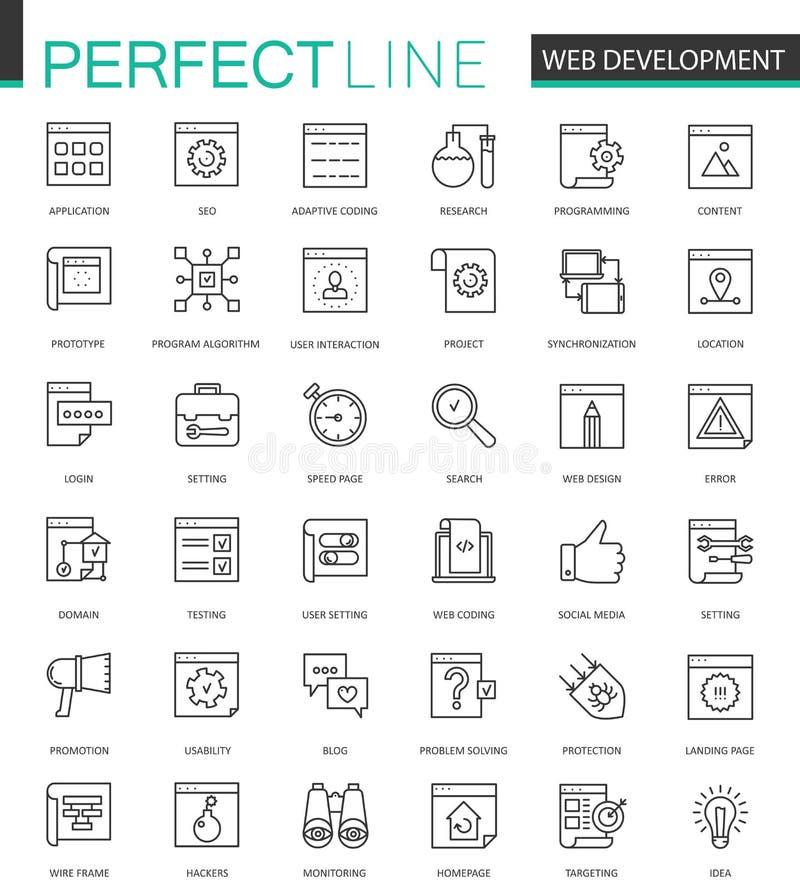 Linha fina ícones do desenvolvimento da Web da Web ajustados Projeto dos ícones do curso do esboço da compra de SEO Online ilustração royalty free