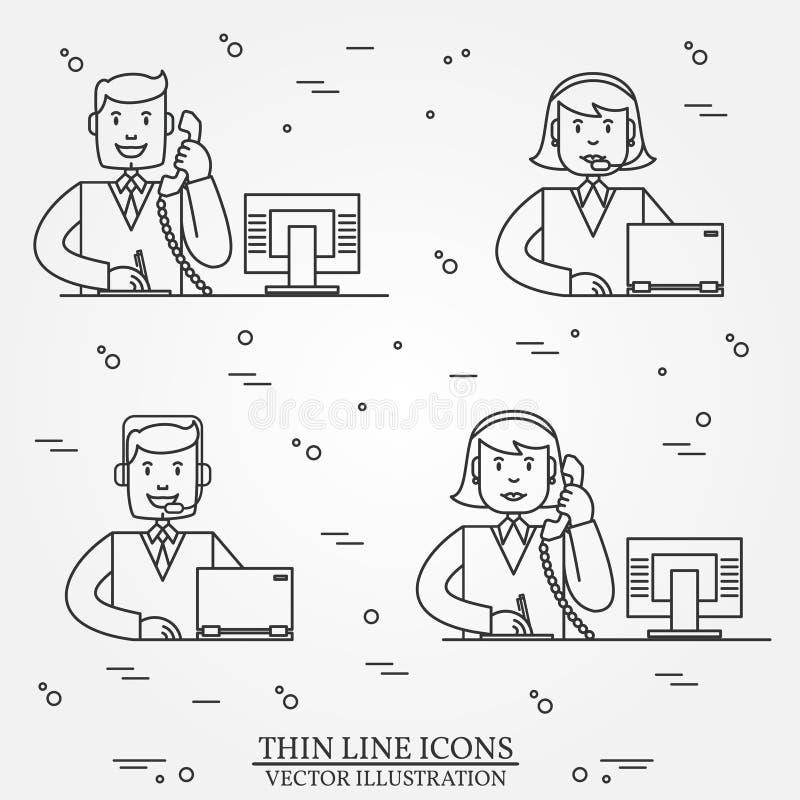 Linha fina ícones do esboço do serviço da resposta da pergunta do centro de atendimento ajustados ilustração royalty free
