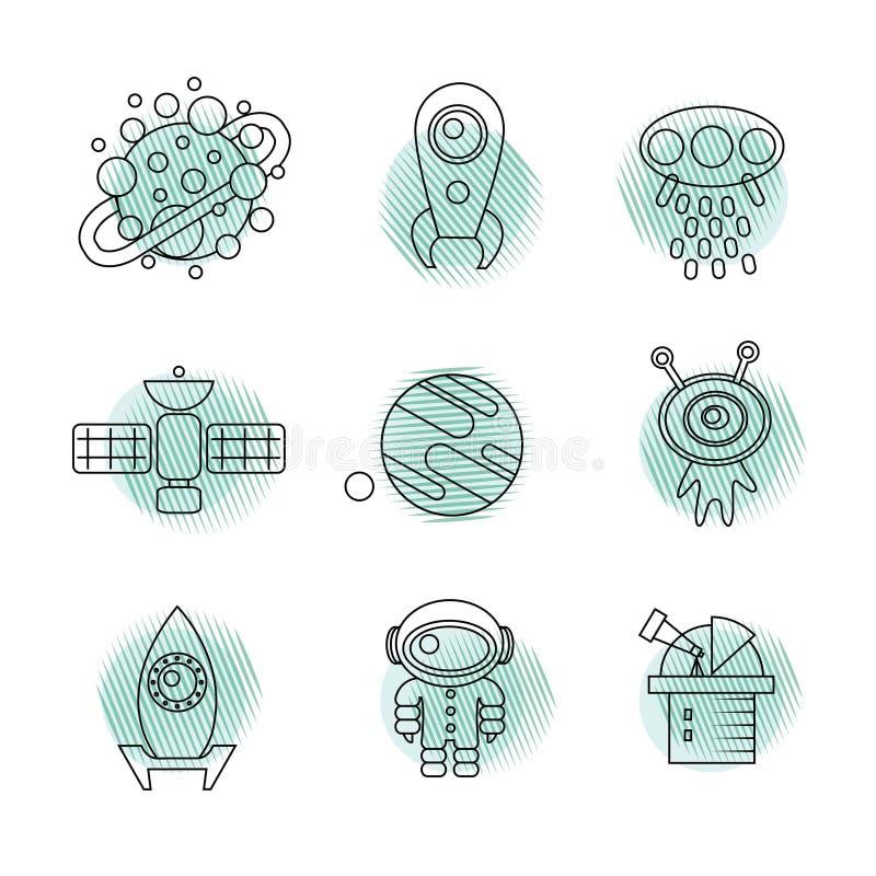 Linha fina ícones do espaço ajustados ilustração do vetor