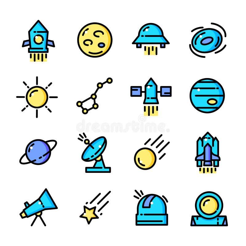 A linha fina ícones do espaço ajustou, vector a ilustração ilustração stock