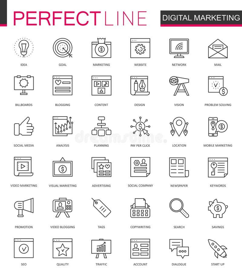 Linha fina ícones do mercado de Digitas da Web ajustados Projeto em linha dos ícones do curso do esboço do negócio ilustração stock