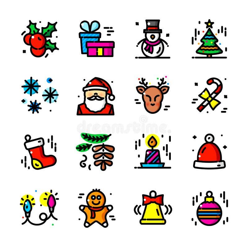 A linha fina ícones do Natal ajustou, vector a ilustração ilustração royalty free
