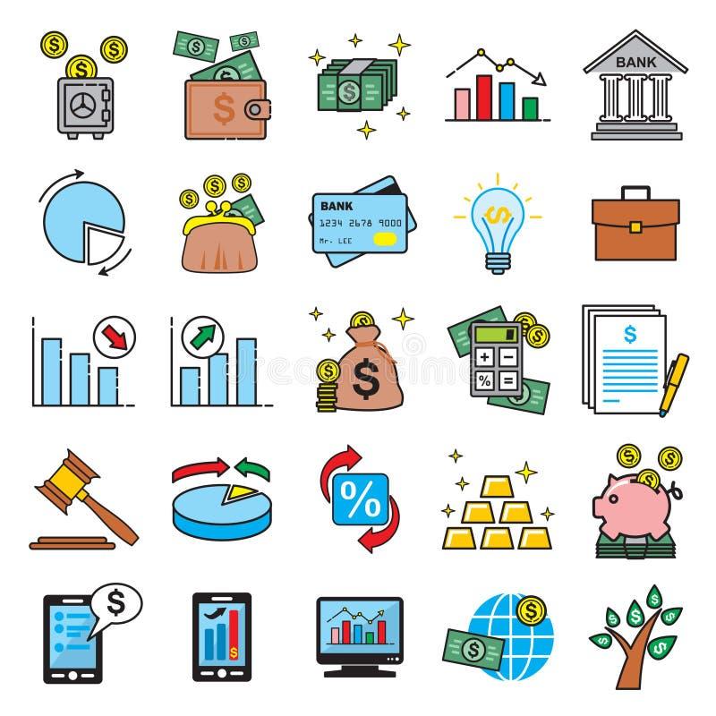 Linha fina ícones do negócio e da finança ajustados no fundo branco para o gráfico e o design web, sinal simples moderno do vetor ilustração stock