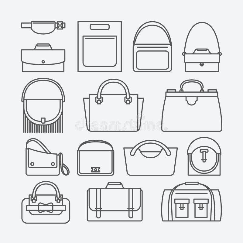 Linha fina ícones do saco ilustração royalty free