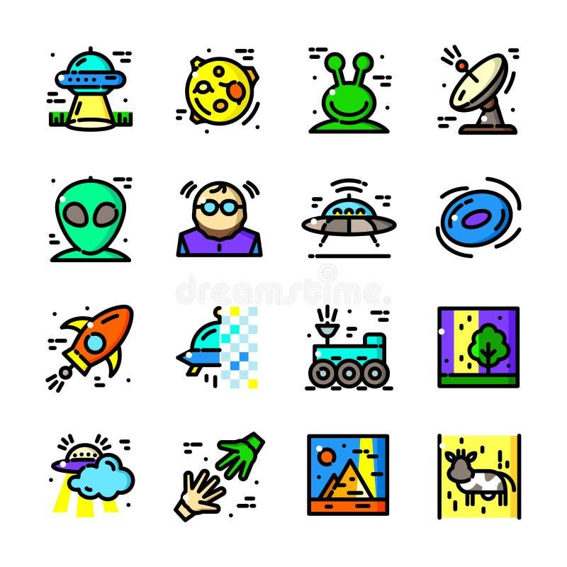 A linha fina ícones do UFO ajustou, vector a ilustração ilustração stock