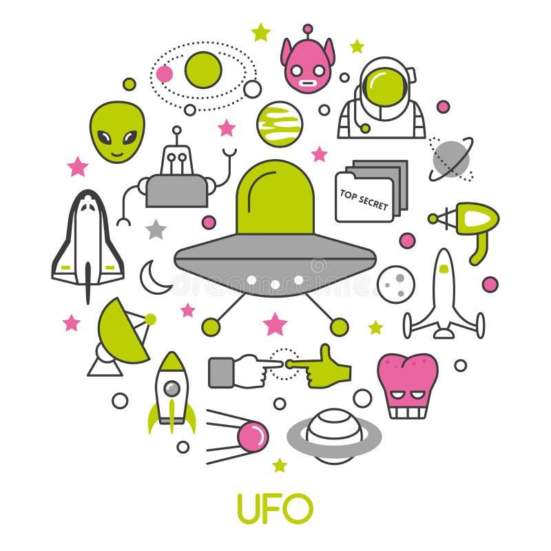 Linha fina ícones do UFO e do espaço ajustados com estrangeiros e pires de voo ilustração do vetor