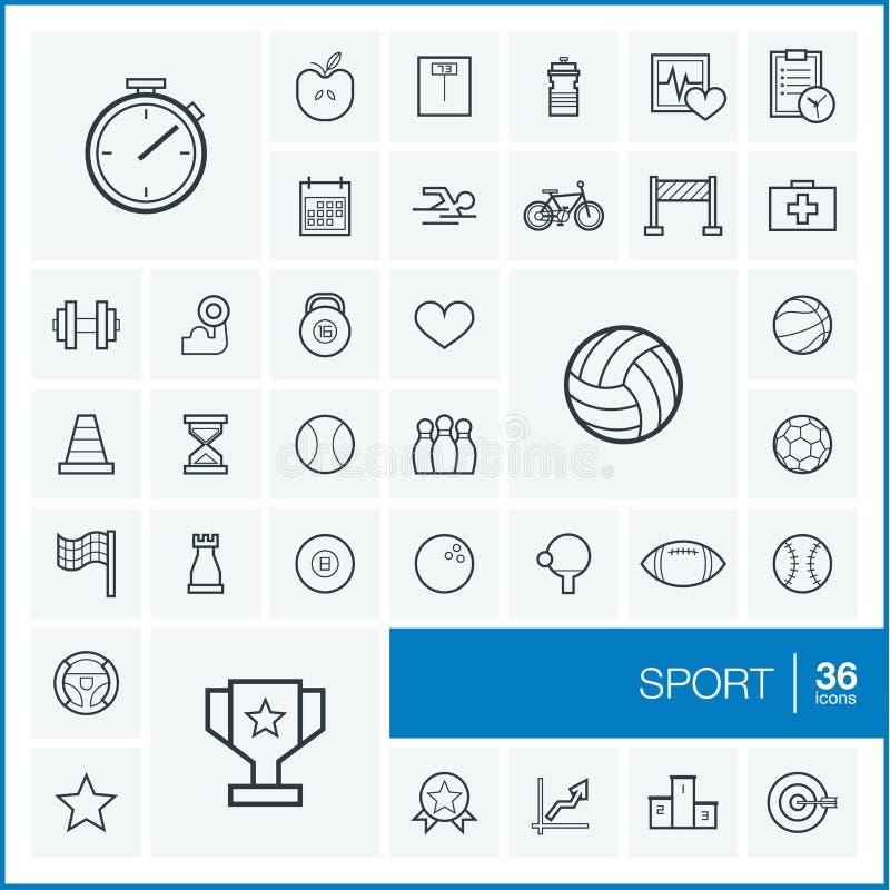 Linha fina ícones do vetor ajustados esporte ilustração royalty free