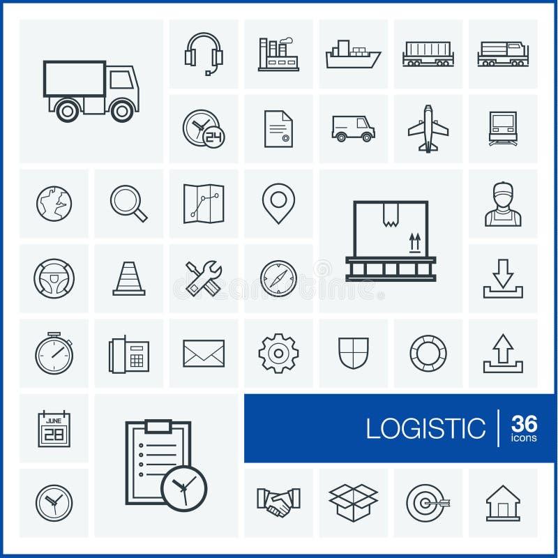 Linha fina ícones do vetor ajustados logistic ilustração do vetor