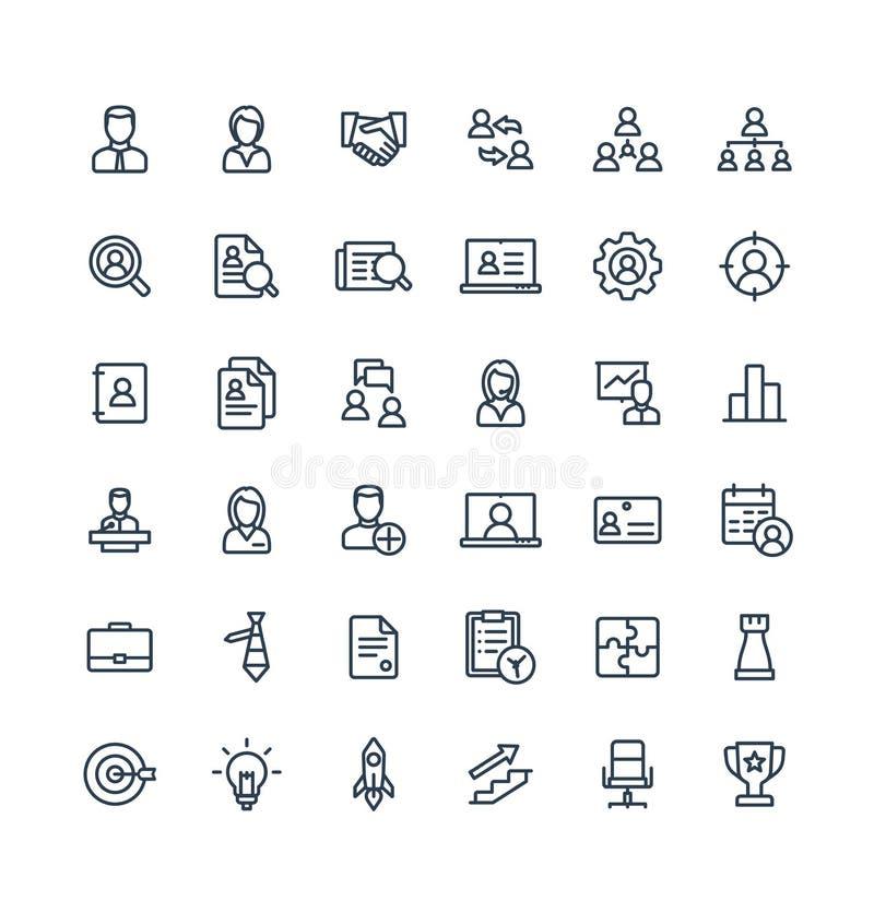 A linha fina ícones do vetor ajustou símbolos do esboço do negócio e da gestão ilustração royalty free