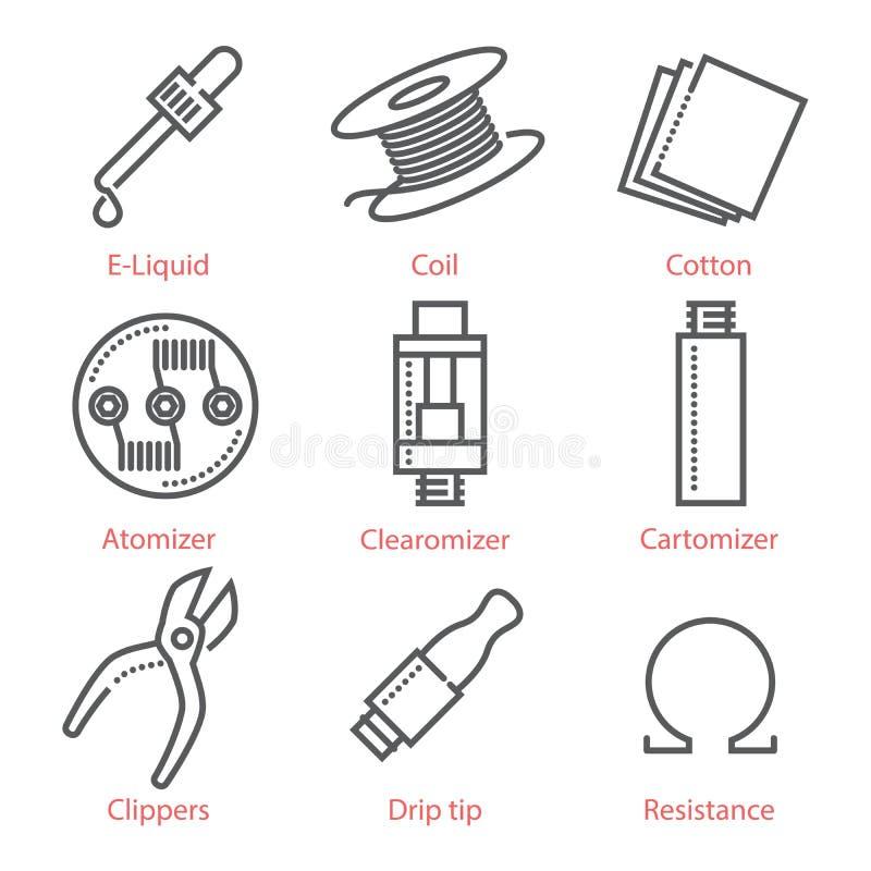 A linha fina ícones do vetor ajustou-se com acessórios e equipamento vaping ilustração stock