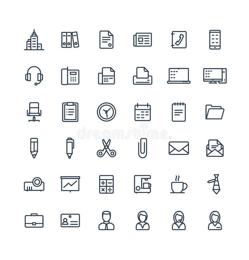 A linha fina ícones do vetor ajustou-se com negócio e as ferramentas do escritório esboçam símbolos ilustração stock