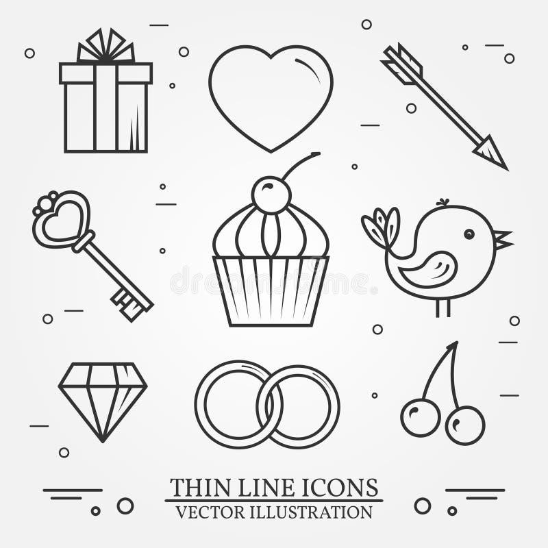 A linha fina ícones do vetor ajustou-se para o th do dia e do amor de Valentim de Saint ilustração stock