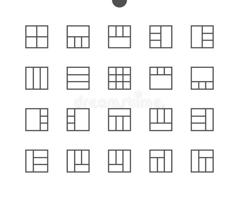 Linha fina ícones 48x48 do vetor bem feito perfeito do pixel da disposição UI prontos para a grade 24x24 para gráficos da Web e o ilustração do vetor