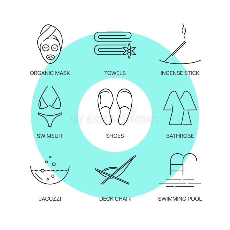 Linha fina ícones dos termas ajustados ilustração stock