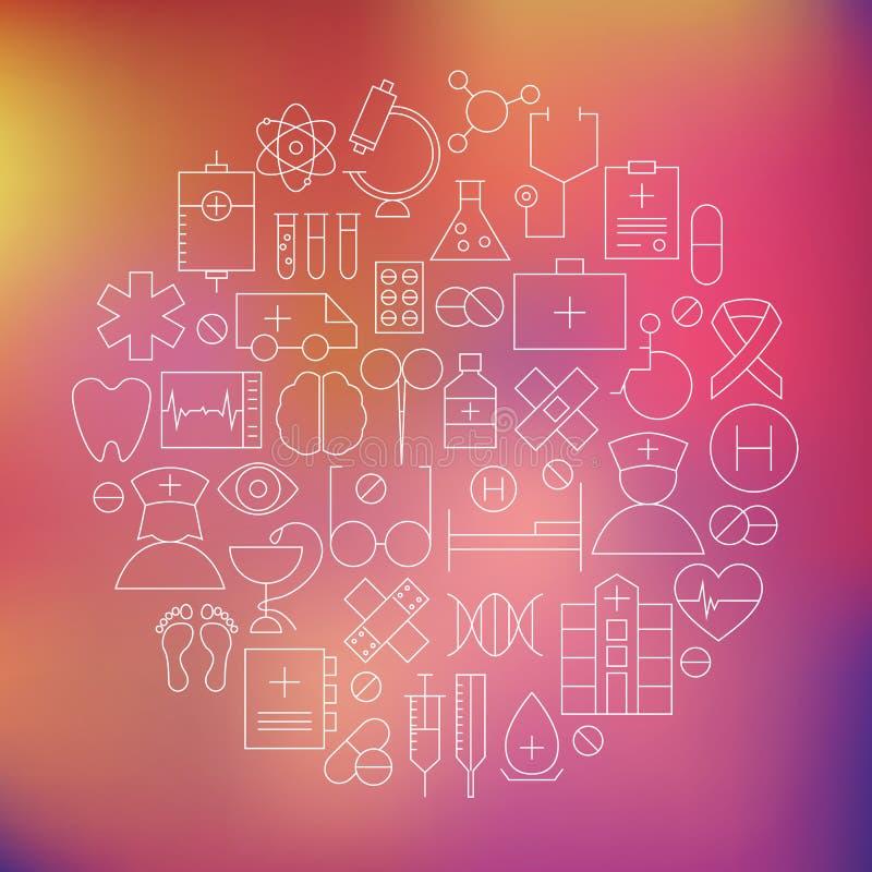 A linha fina ícones médicos dos cuidados médicos ajustou o círculo dado forma ilustração do vetor