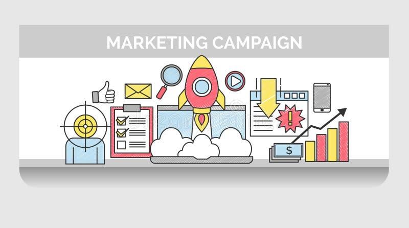 Linha fina ícones para a campanha de marketing do Internet ilustração do vetor