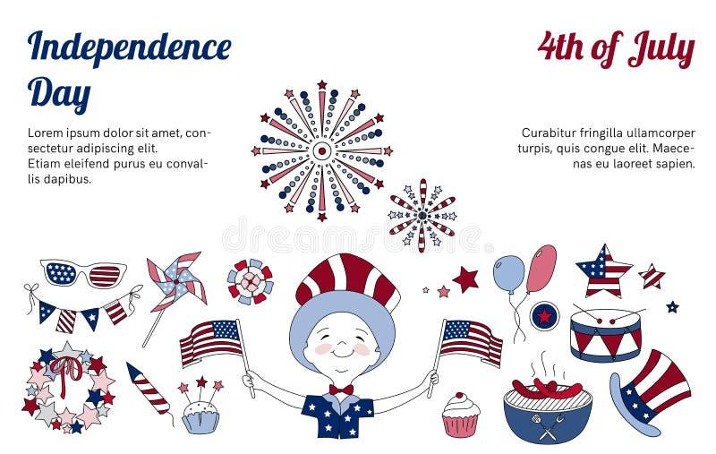 Linha fina ícones para o Dia da Independência dos EUA ilustração stock