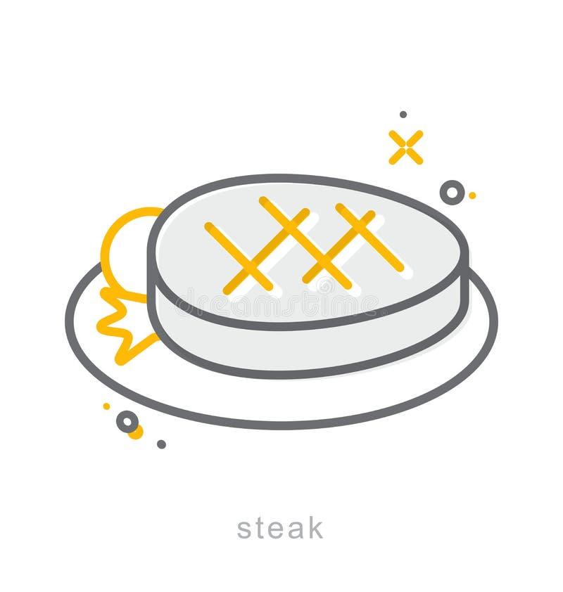 Linha fina ícones, prato do bife ilustração stock