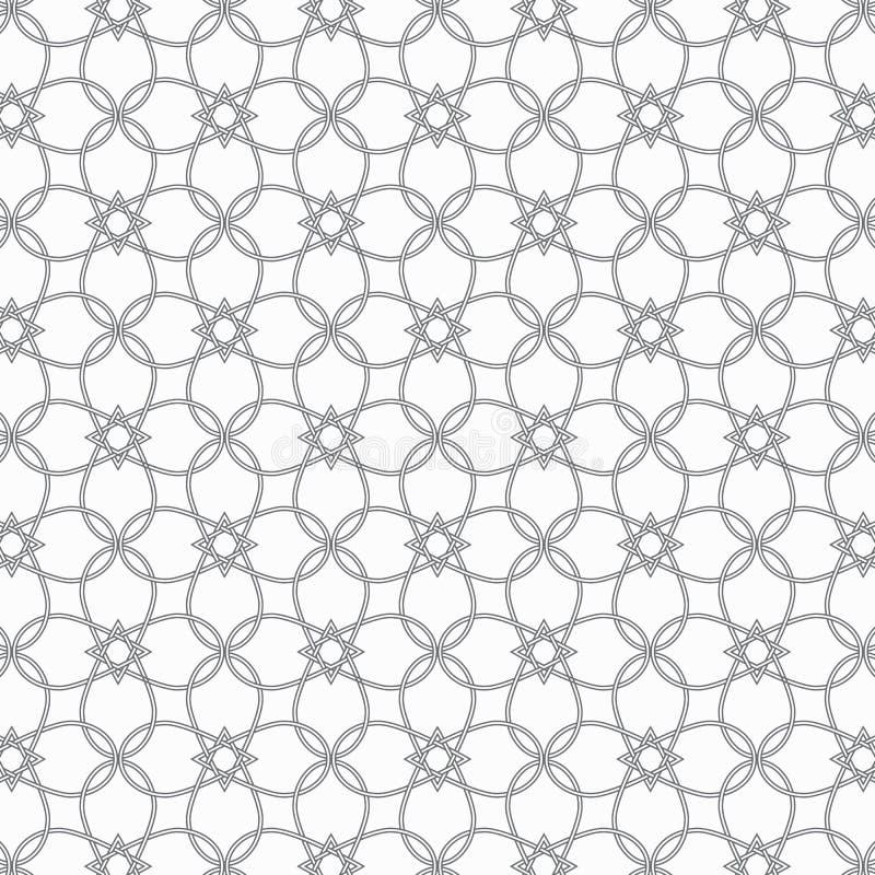 A linha fina abstrata da flor e da estrela cruzou cada um, o teste padrão está limpo e capaz alinhe à mão ilustração stock
