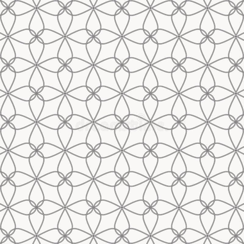 A linha fina abstrata da flor e da estrela cruzou cada um, o teste padr?o est? limpo e capaz alinhe ? m?o ilustração stock