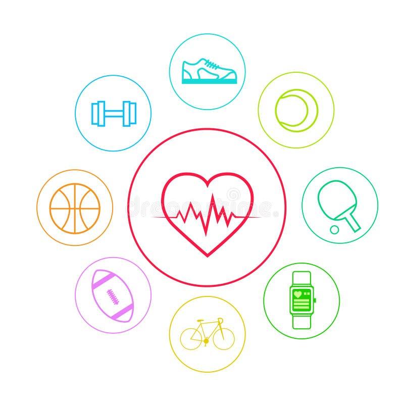 Linha fina ajustada ícones do App da aptidão do esporte do coração simples ilustração royalty free