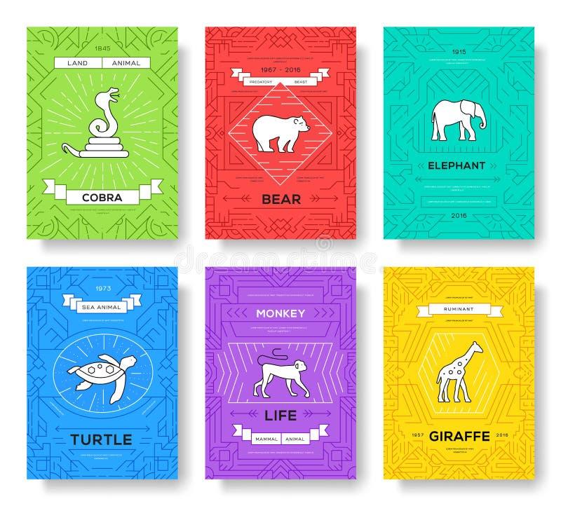 Linha fina animal grupo de cartões do folheto molde tradicional exótico de flyear, compartimentos, cartazes, capa do livro, bande ilustração stock