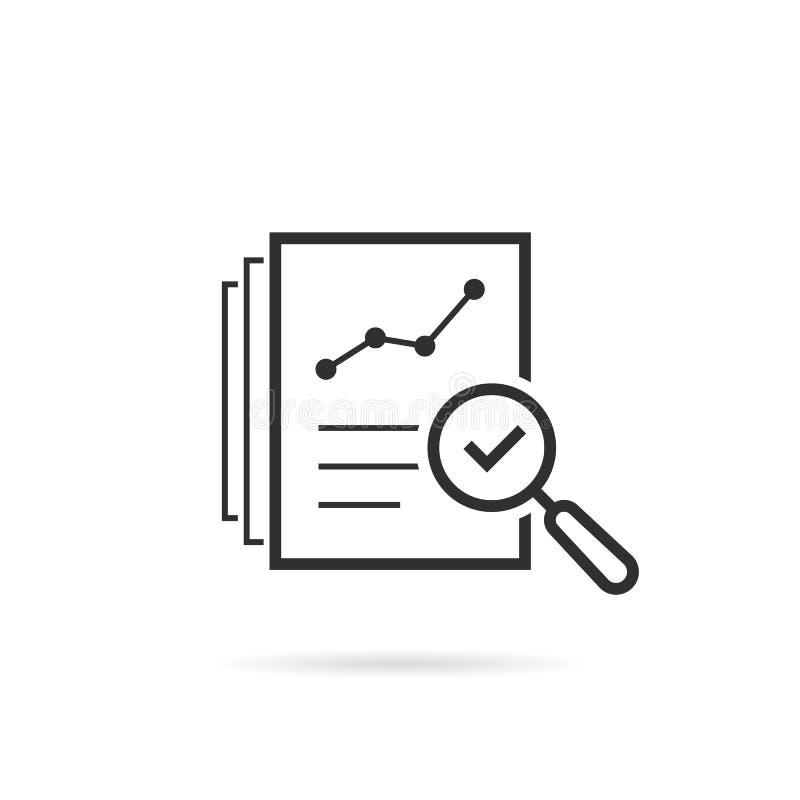 A linha fina avalia o ícone como o risco de auditoria da revisão ilustração royalty free