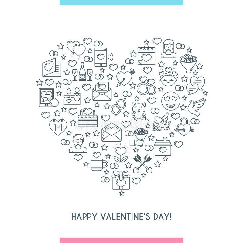 Linha fina bandeira do dia de Valentim do coração ilustração stock