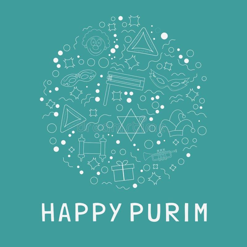 A linha fina branca ícones do projeto liso do feriado de Purim ajustou-se na estrela de d ilustração royalty free