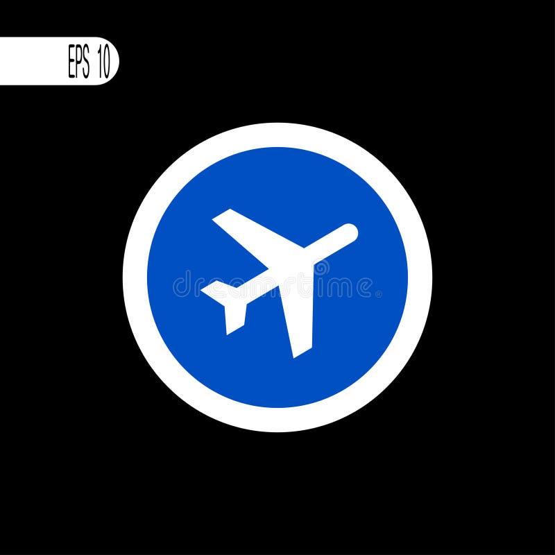 Linha fina branca do sinal redondo Sinal do avião, ícone - ilustração do vetor ilustração stock