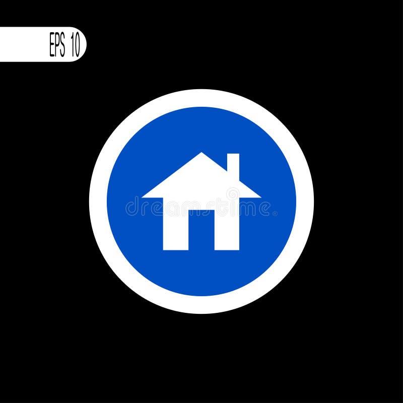 Linha fina branca do sinal redondo Casa, sinal da casa, ícone - ilustração do vetor ilustração royalty free