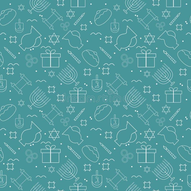 Linha fina branca patt sem emenda do projeto liso do feriado do Hanukkah dos ícones ilustração do vetor