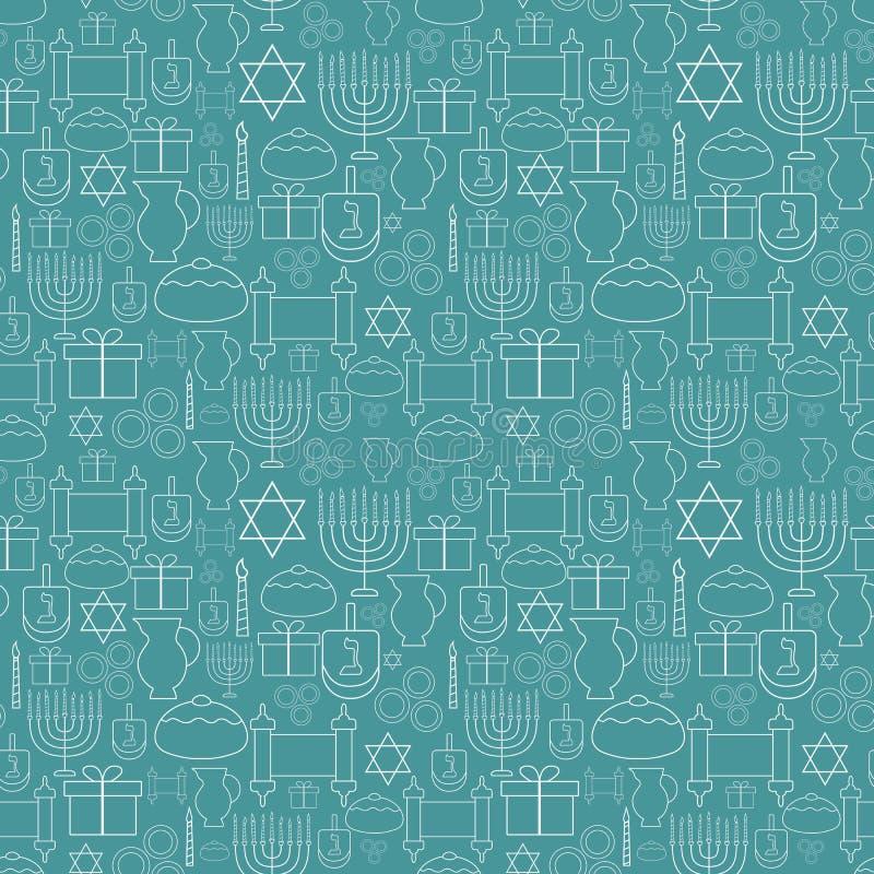 Linha fina branca patt sem emenda do projeto liso do feriado do Hanukkah dos ícones ilustração stock
