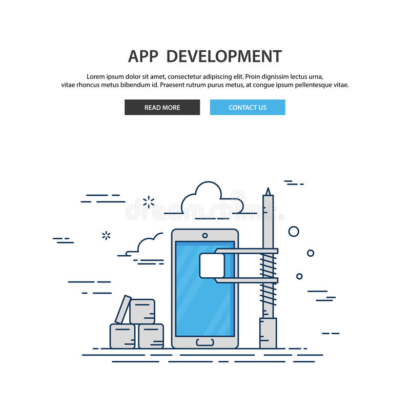 Linha fina canteiro de obras móvel do app do projeto Ilustração moderna do vetor ilustração royalty free