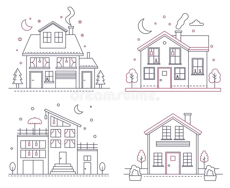 Linha fina casas americanas suburbanas do vetor do ícone Ilustrações civis para infographic, Web da construção da arquitetura clá ilustração do vetor