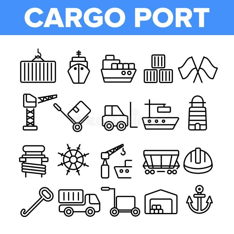 Linha fina coleção do vetor portuário da carga dos ícones ilustração do vetor